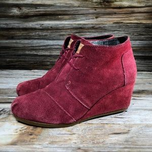 Toms Desert Wedge Bootie Red Women 8